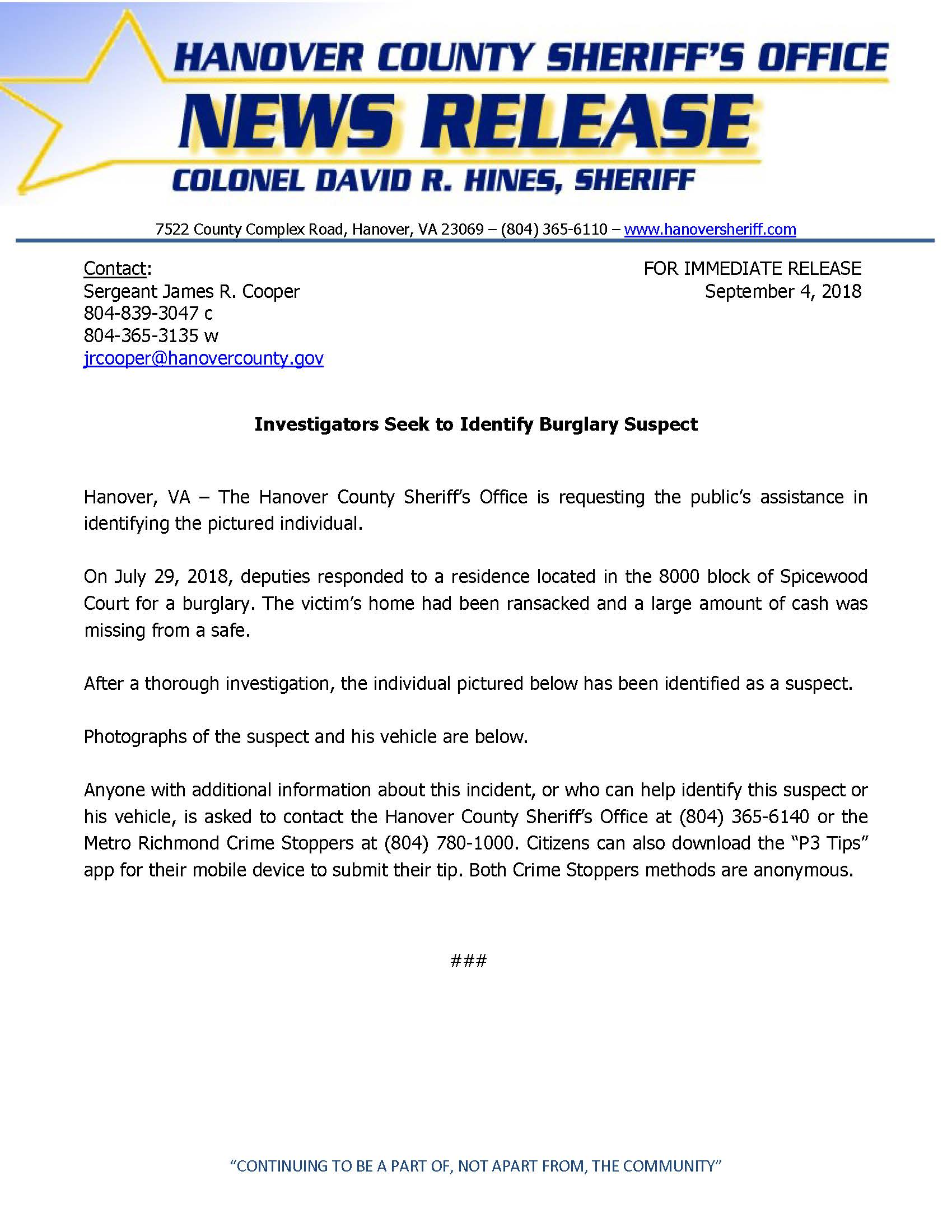 HCSO - Investigators Seek to Identify Burglary Suspect - September 4, 2018_Page_1