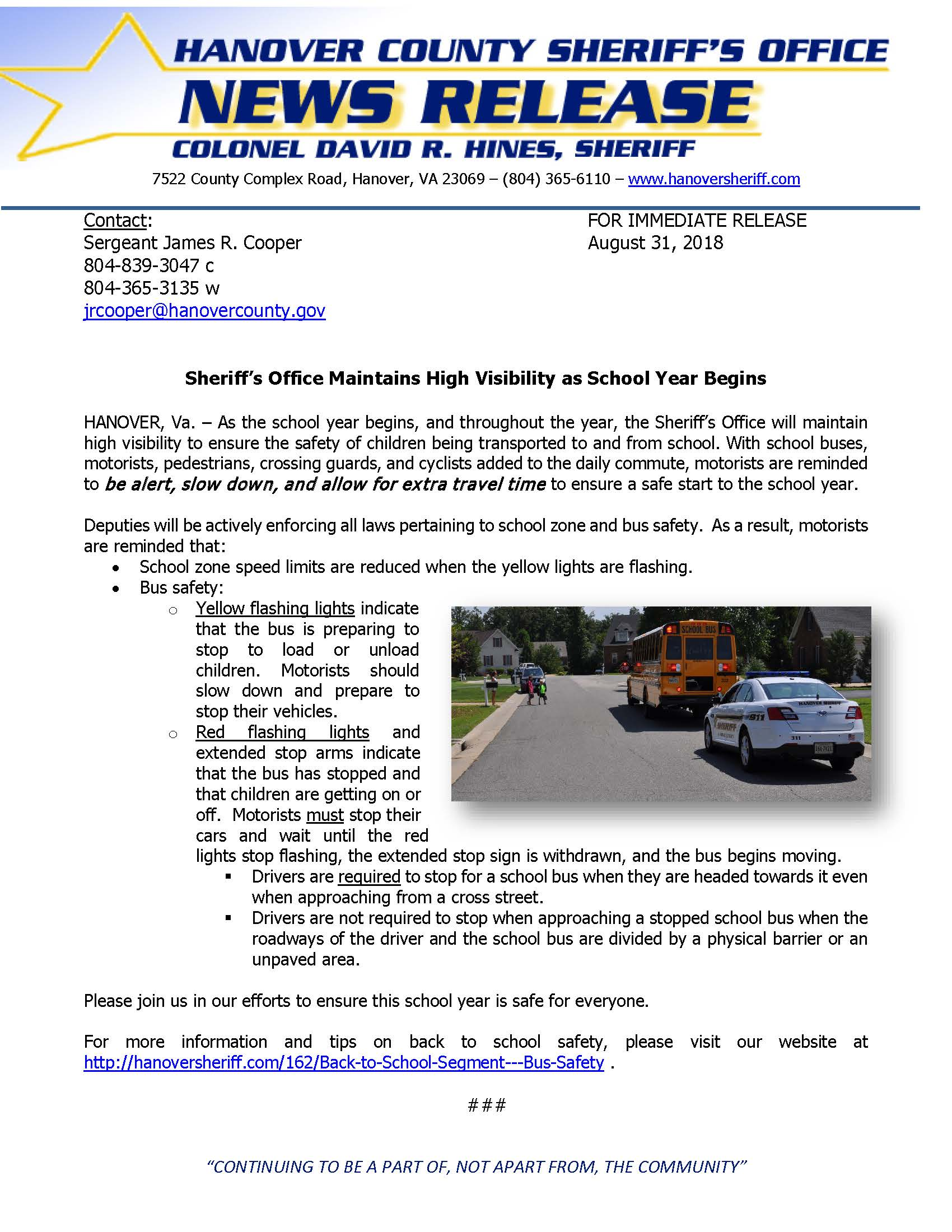 HCSO - High Visibility as School Year Begins- August 31, 2018