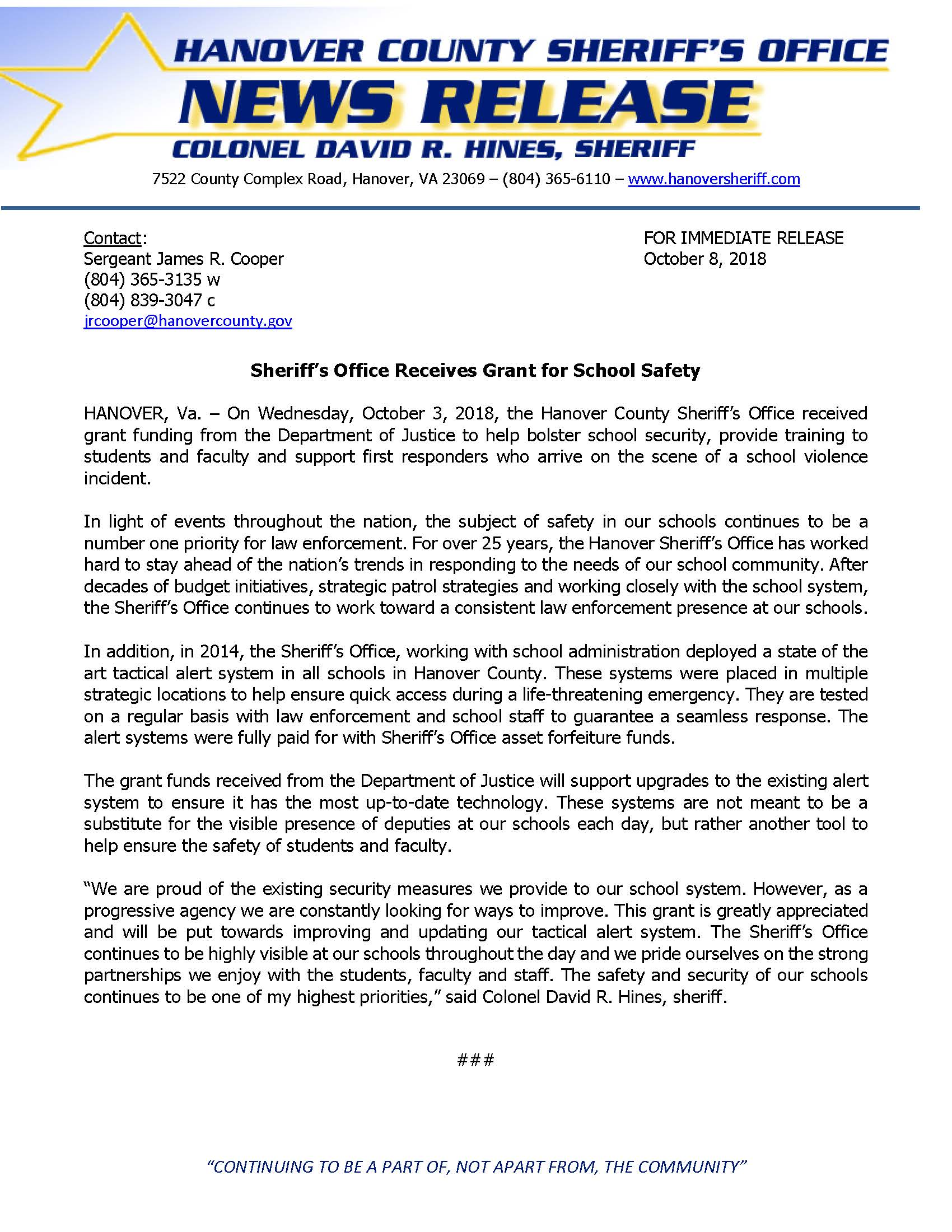 HCSO - Sheriffs Office Receives Grant for School Safety- October 8, 2018