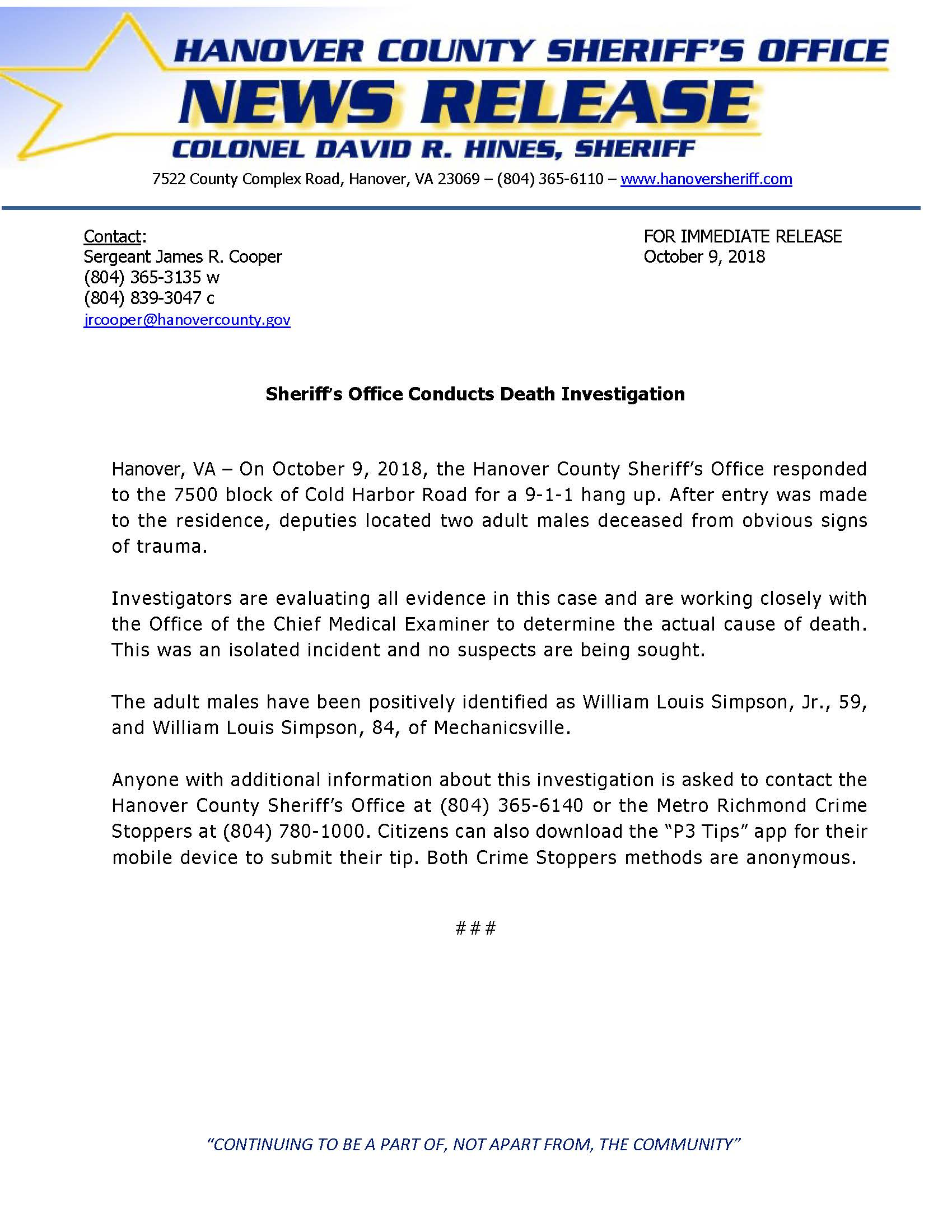HCSO - Sheriffs Office Conducts Death Investigation- October 9, 2018