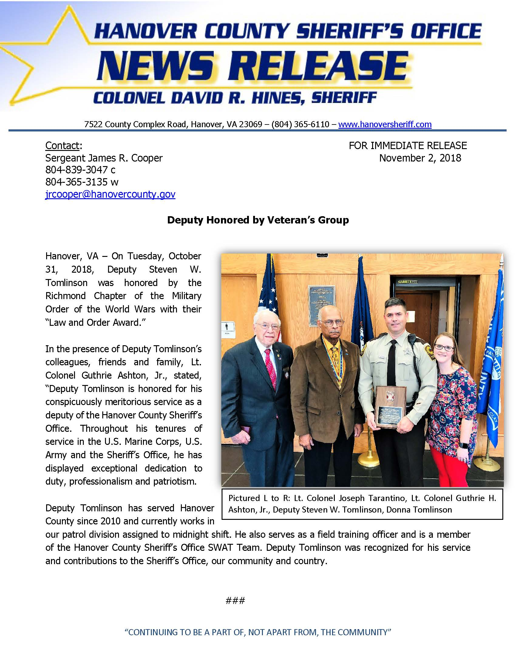 HCSO - Deputy Honored by Veterans Group- November 1 2018