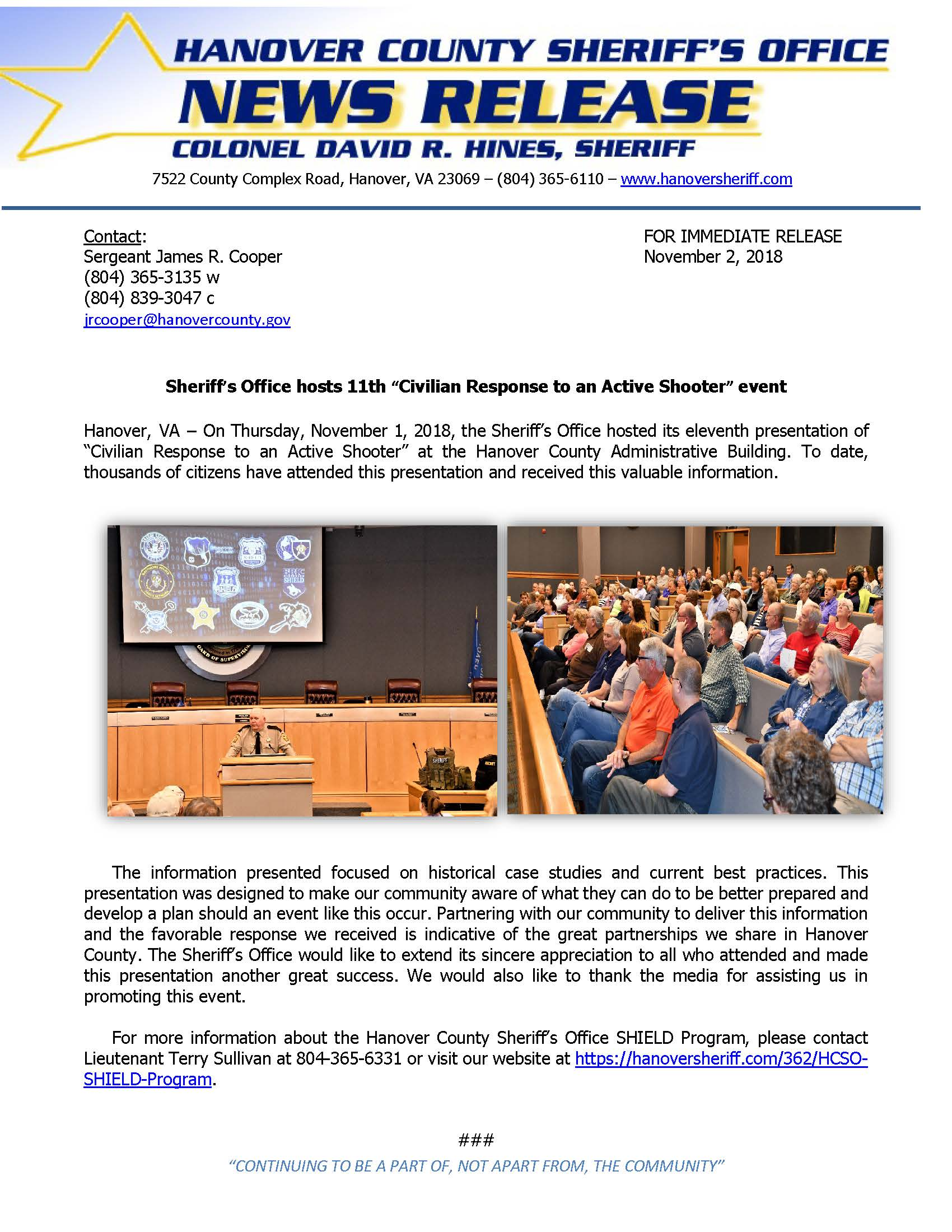 HCSO - 11th Civilian Response to Active Shooter Conference- November 2, 2018
