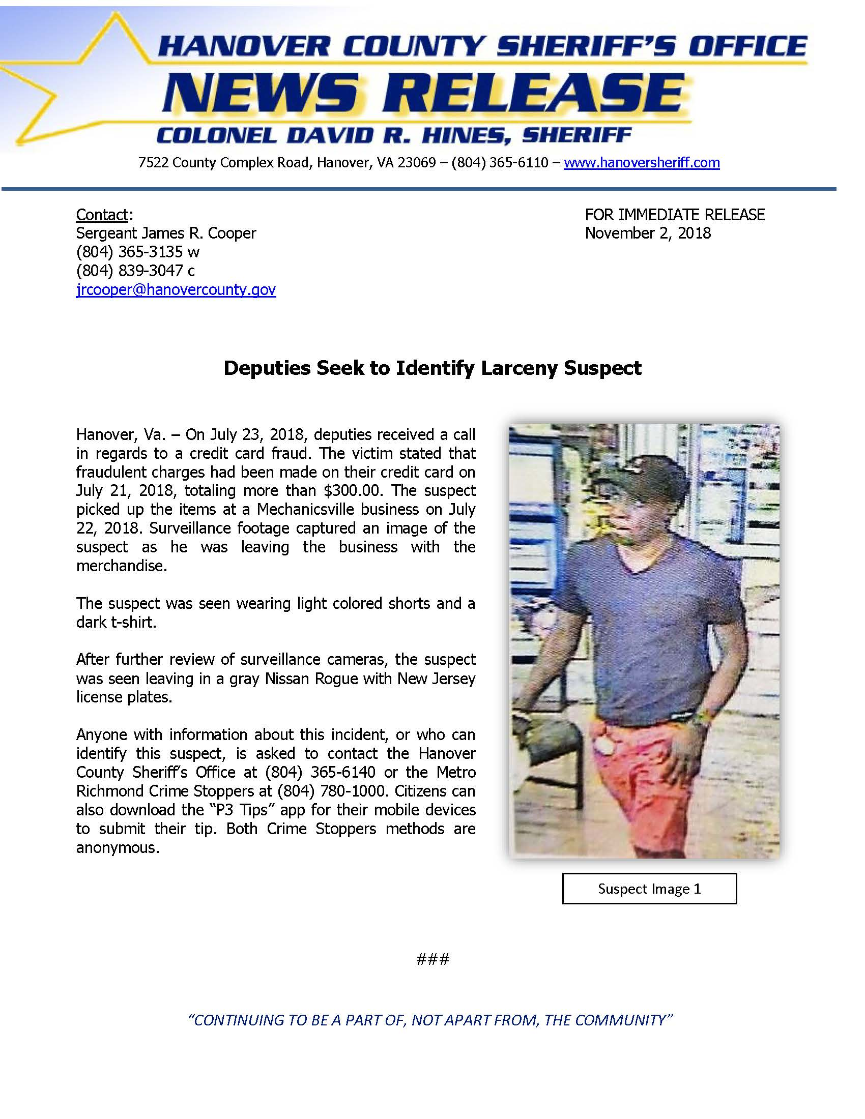 HCSO - Deputies Seek to Identify Larceny Suspect- November 2, 2018