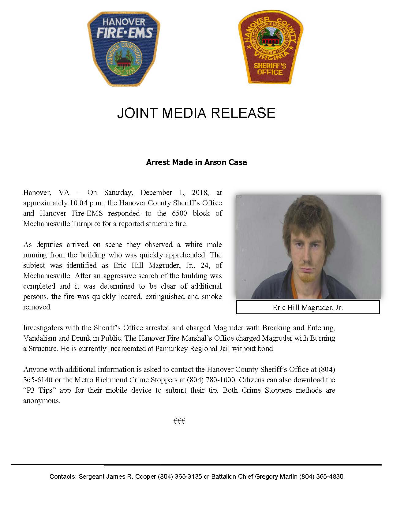 Joint Release- Arrest Made in Arson Case- December 3, 2018