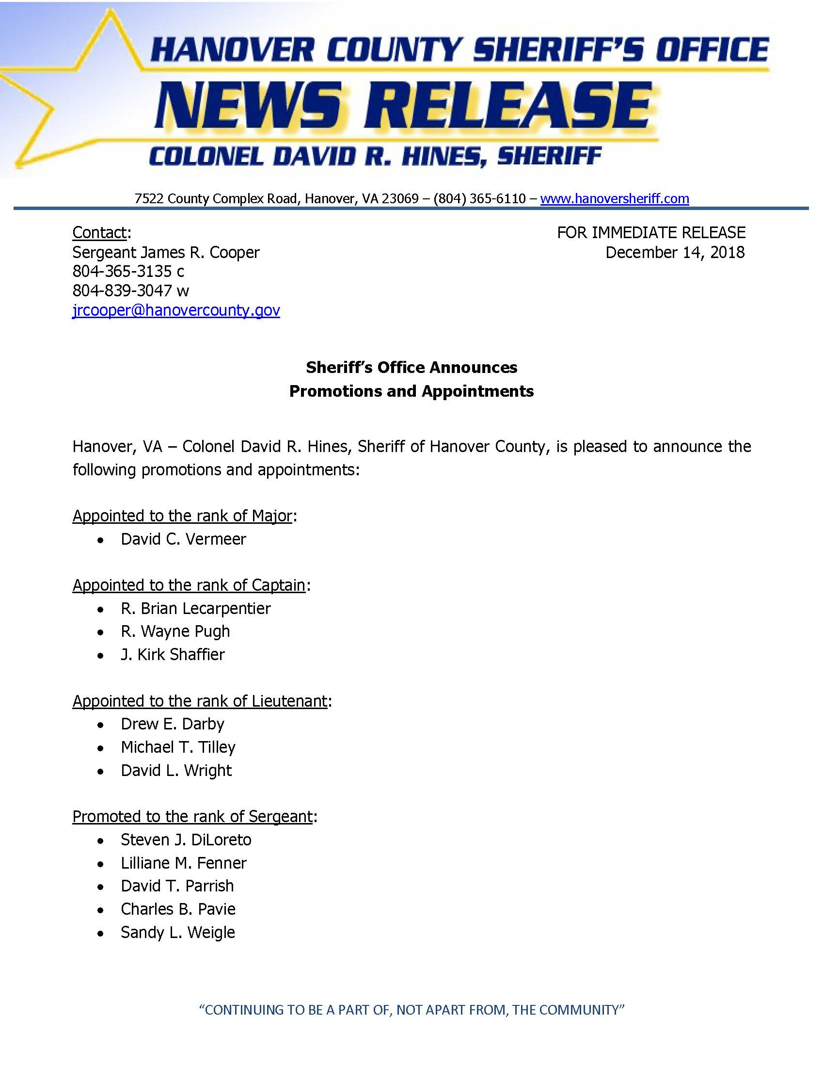 HCSO - Sheriffs Office Announces Promotions and Appointments- December 14, 2018_Page_1