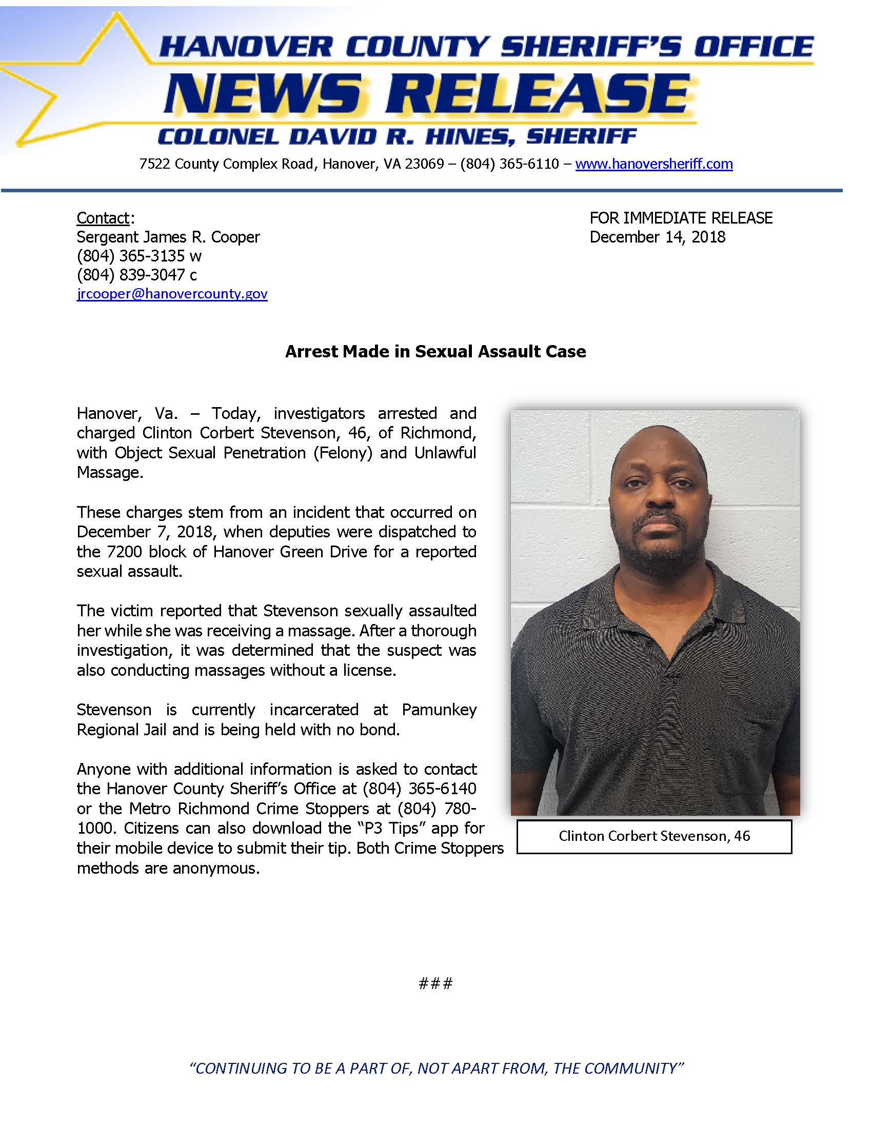 HCSO - Arrest Made in Sexual Assault Case- December 14, 2018