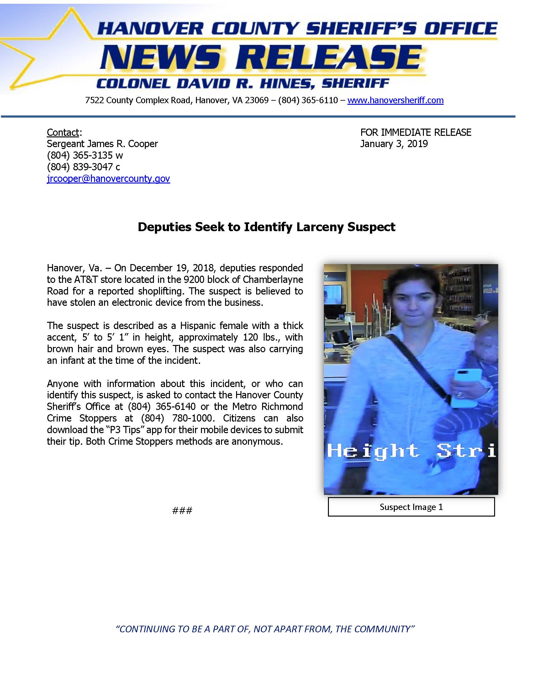 HCSO - Deputies Seek to Identify Larceny Suspect- January 3, 2019