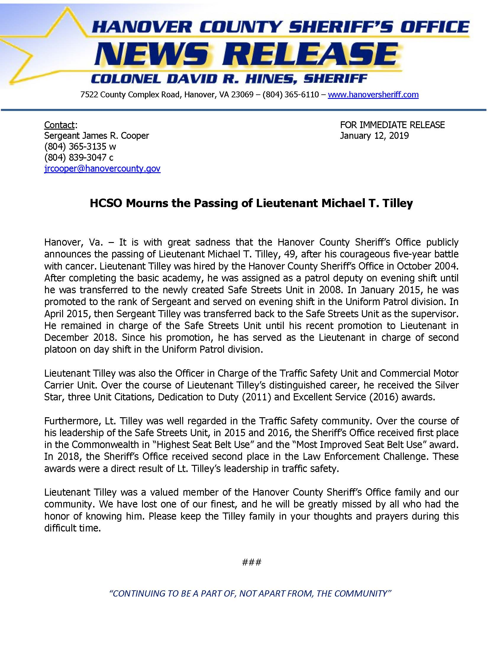 HCSO - Lieutenant Michael T. Tilley- January 12, 2019
