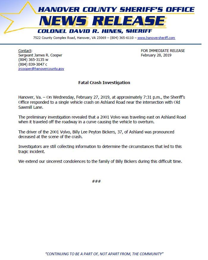 HCSO - Fatal Crash - Ashland Road- February 28, 2019