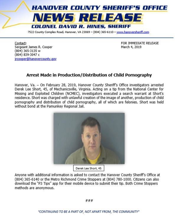 HCSO - Arrest Made in Production-Distribution of Child Pornography- March 4, 2019