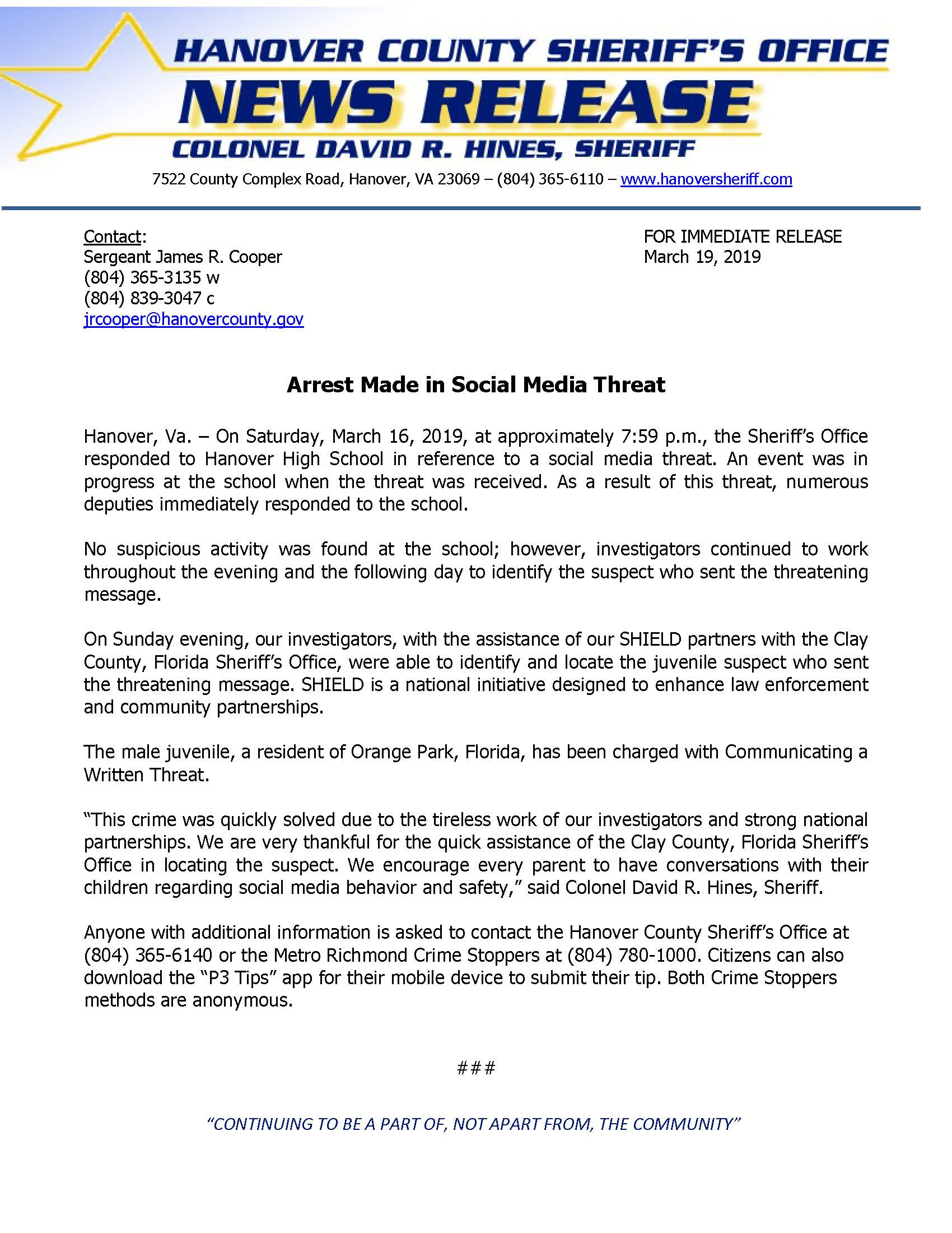 HCSO - Arrest Made in Social Media Threat- March 19, 2019