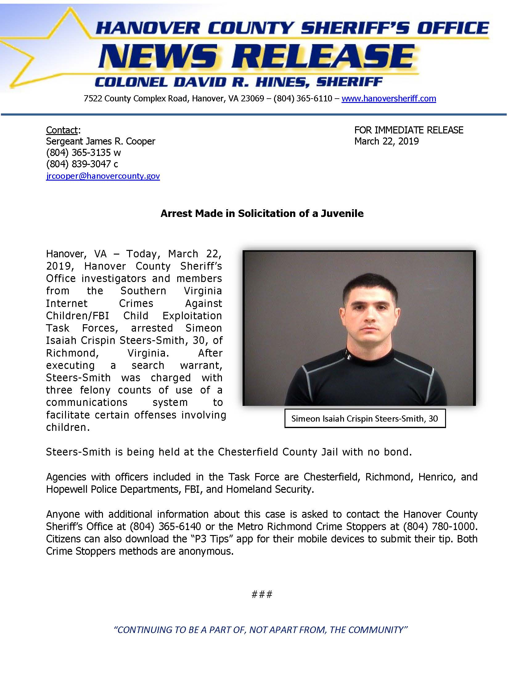 HCSO - Arrest Made in Solicitation of Juvenile - March 22, 2019