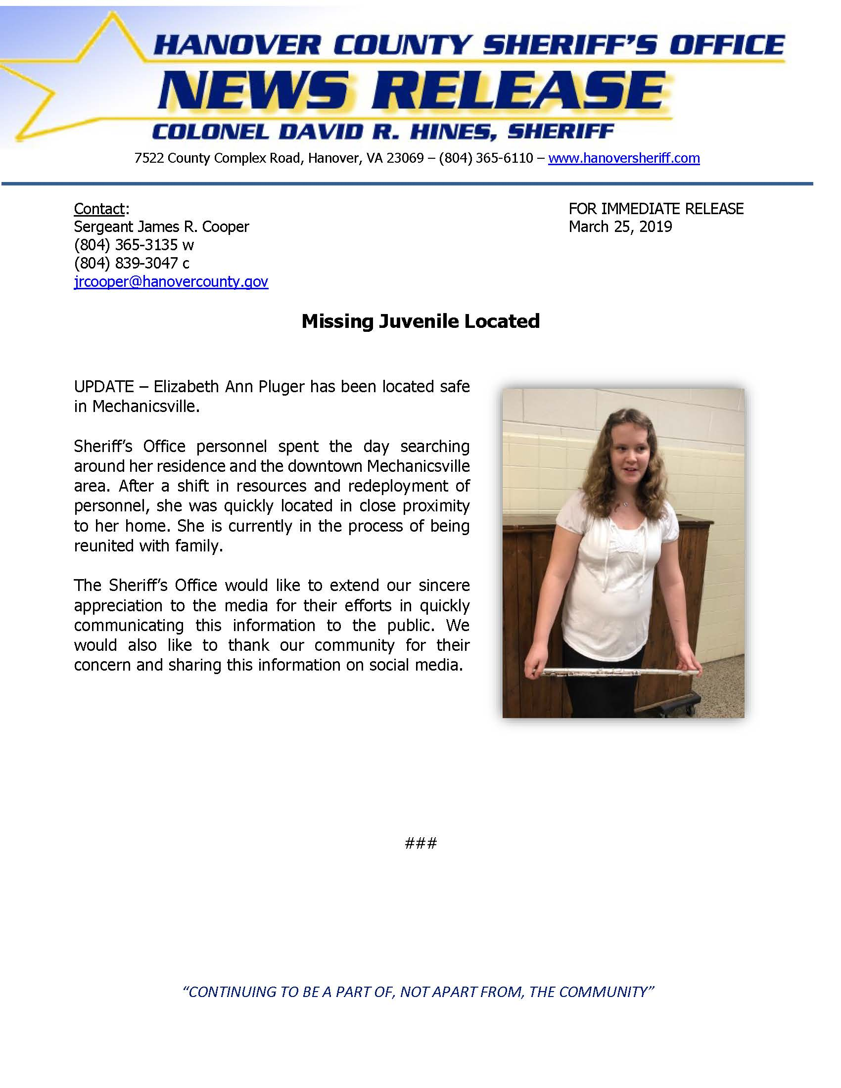 HCSO - Missing Juvenile Elizabeth Pluger LOCATED- March 25, 2019