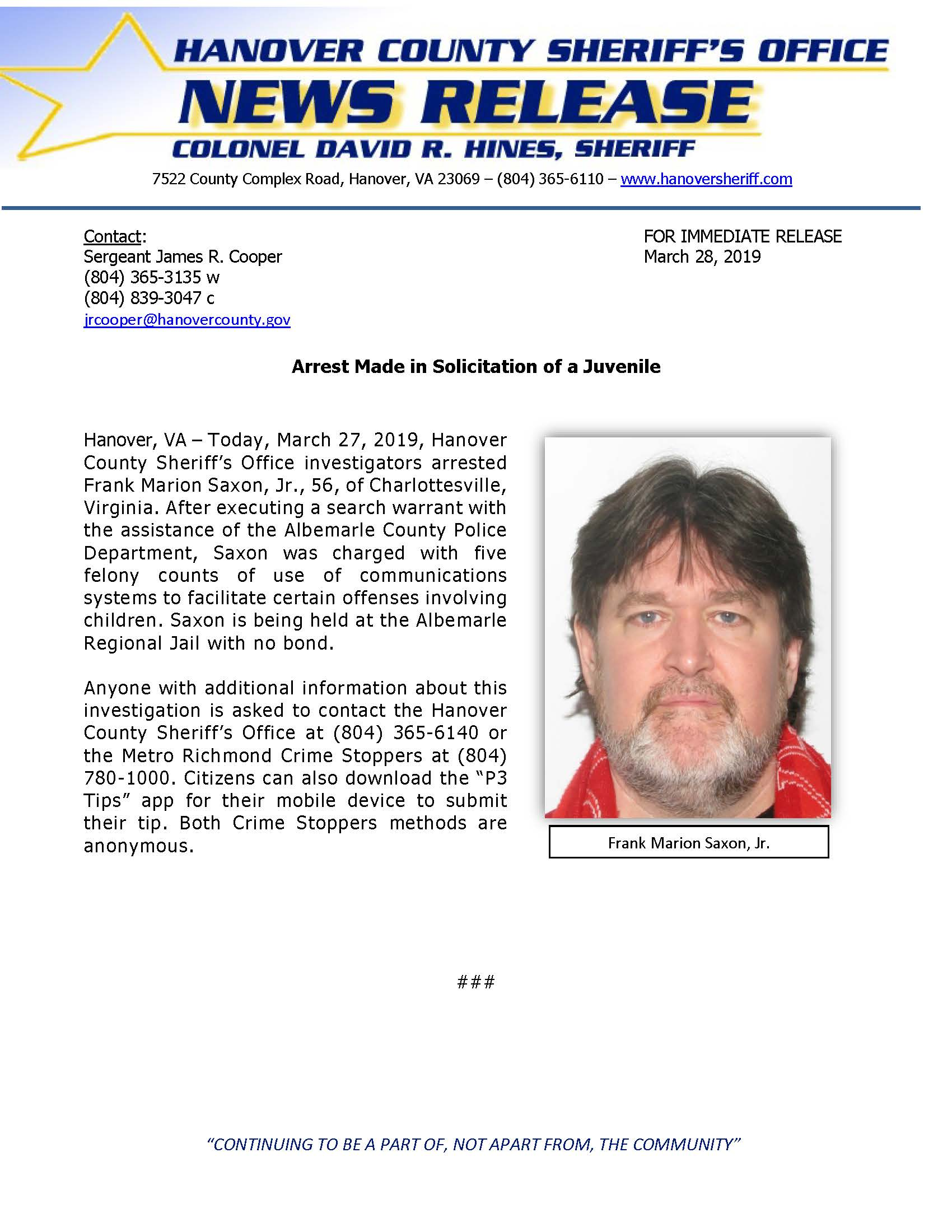 HCSO - Arrest Made in Solicitation of a Juvenile- March 28, 2019