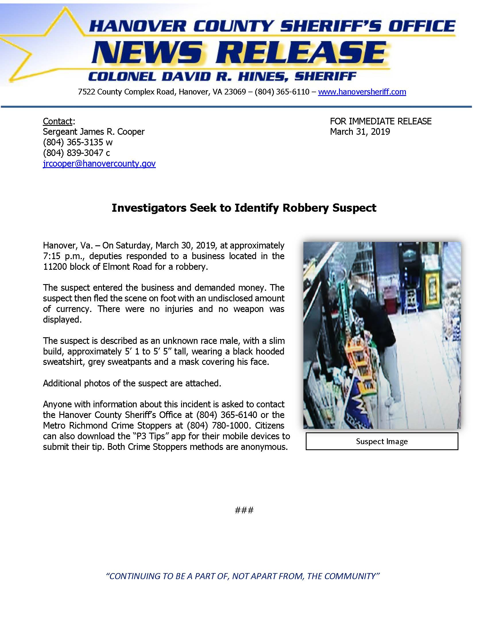 HCSO - Investigators Seek to Identify Robbery Suspect- March 31, 2019