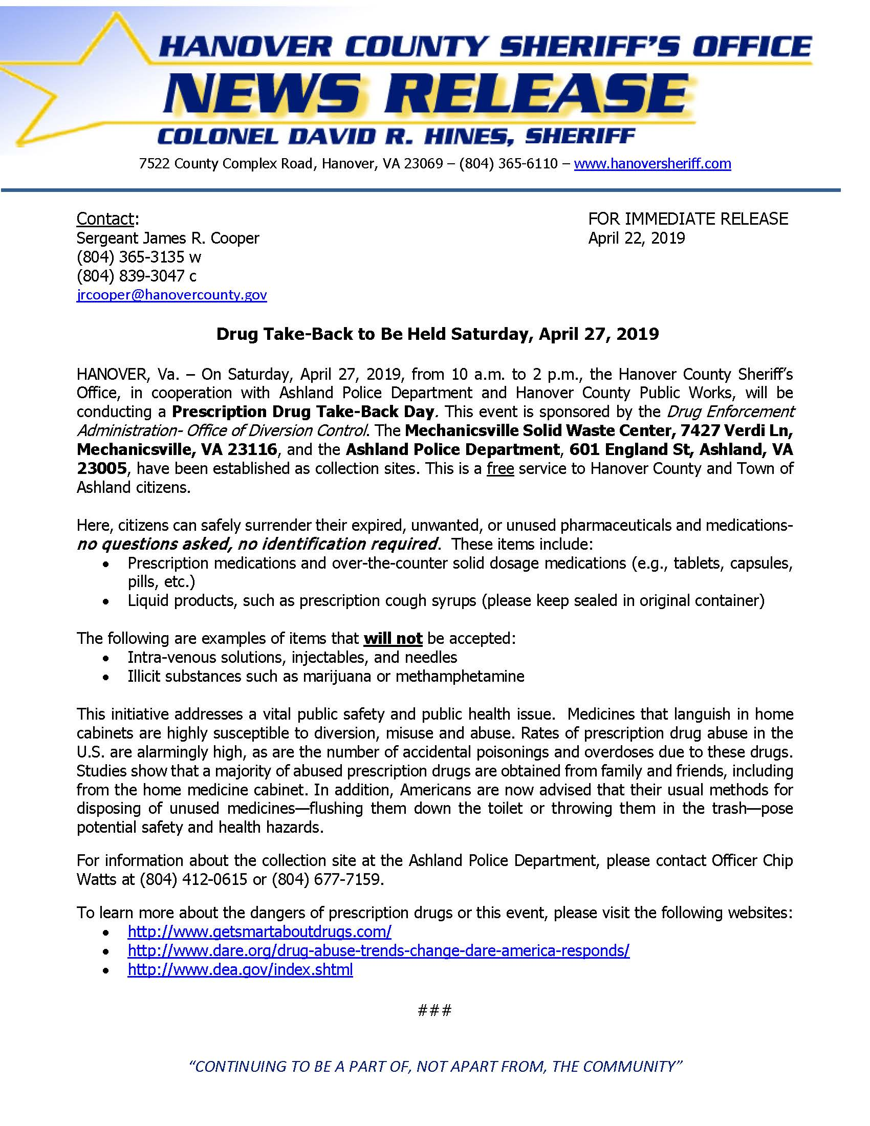 HCSO - Drug Take Back to be held on 4-27-19