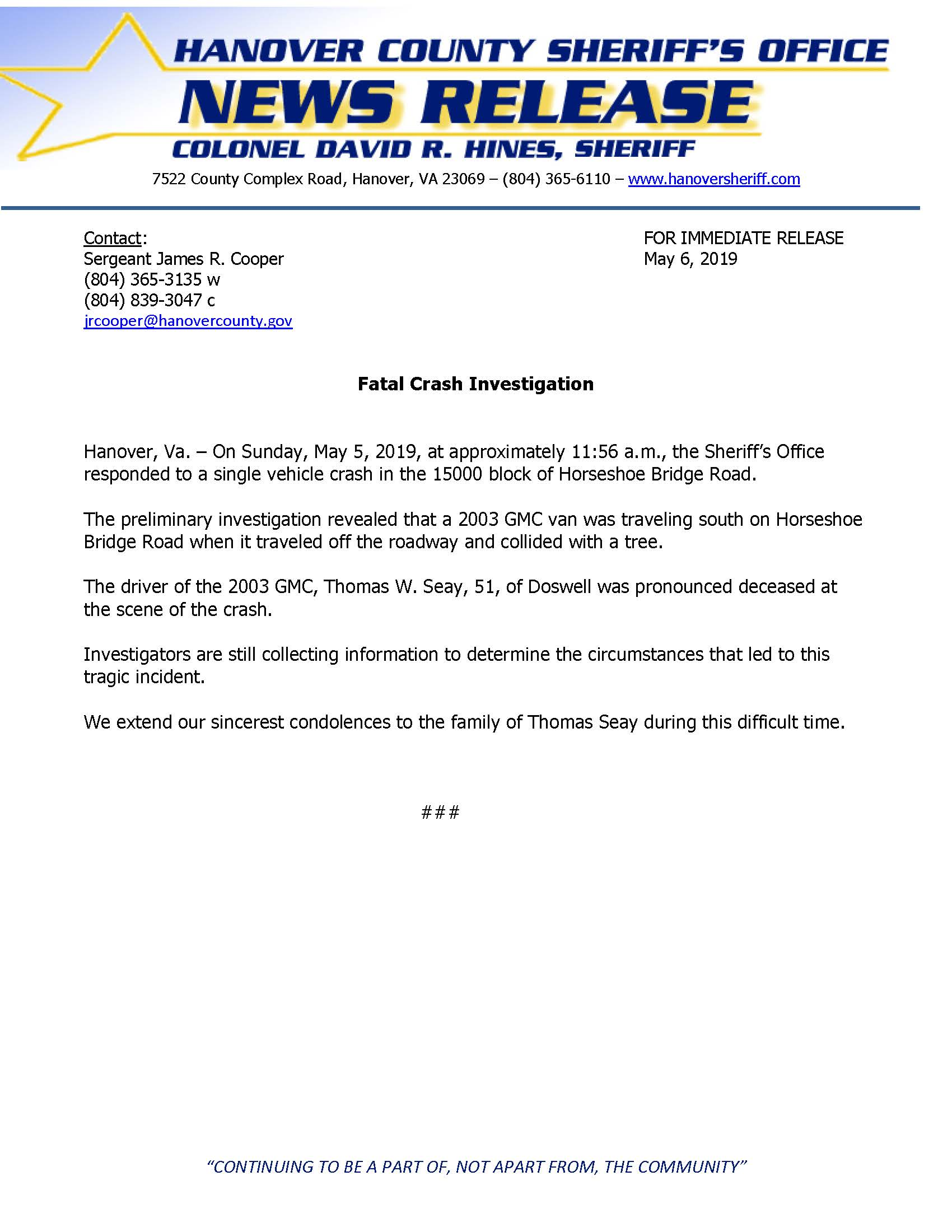 HCSO - Fatal Crash - Horseshoe Bridge Road- May 6, 2019