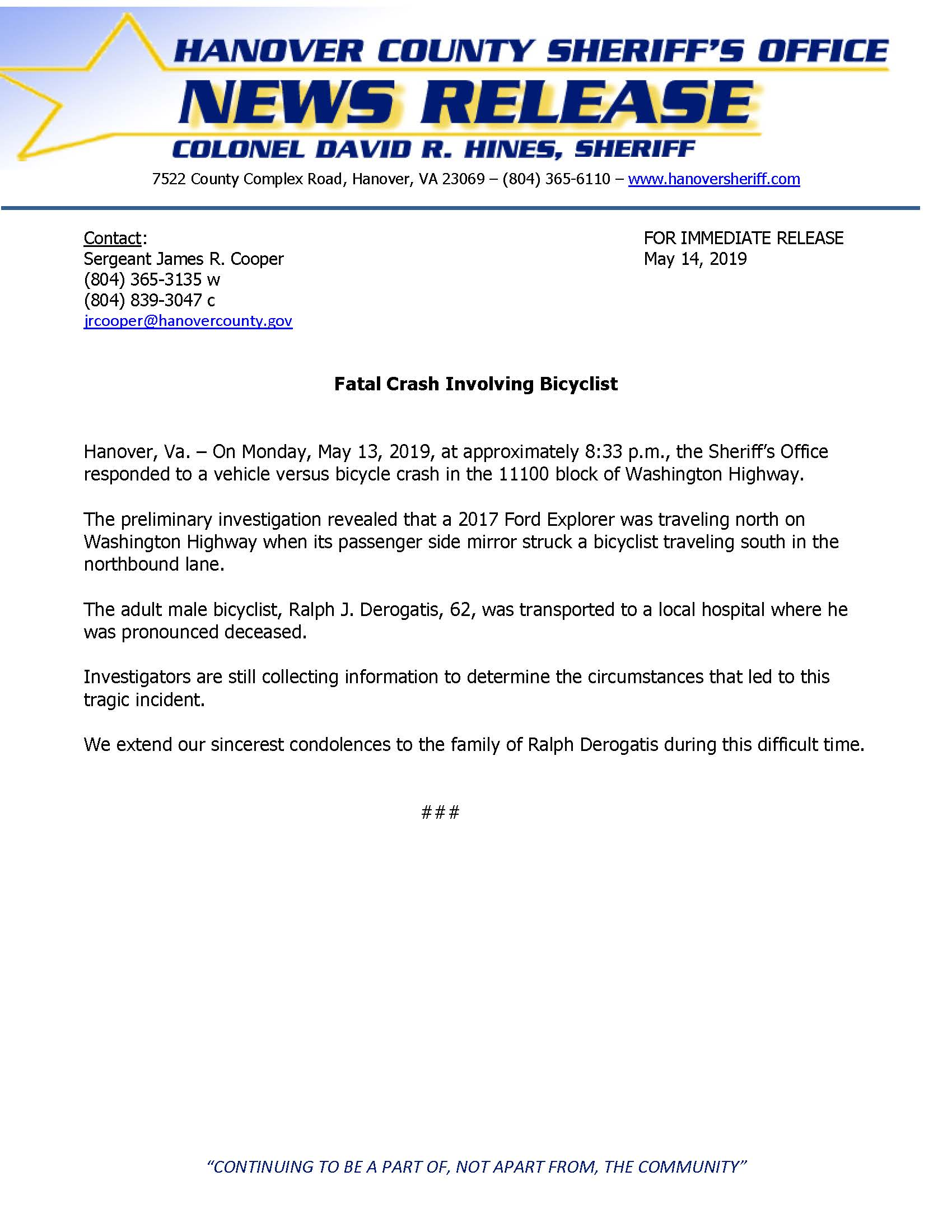 HCSO - Fatal Crash involving Bicyclist- Washington Hwy- May 14, 2019