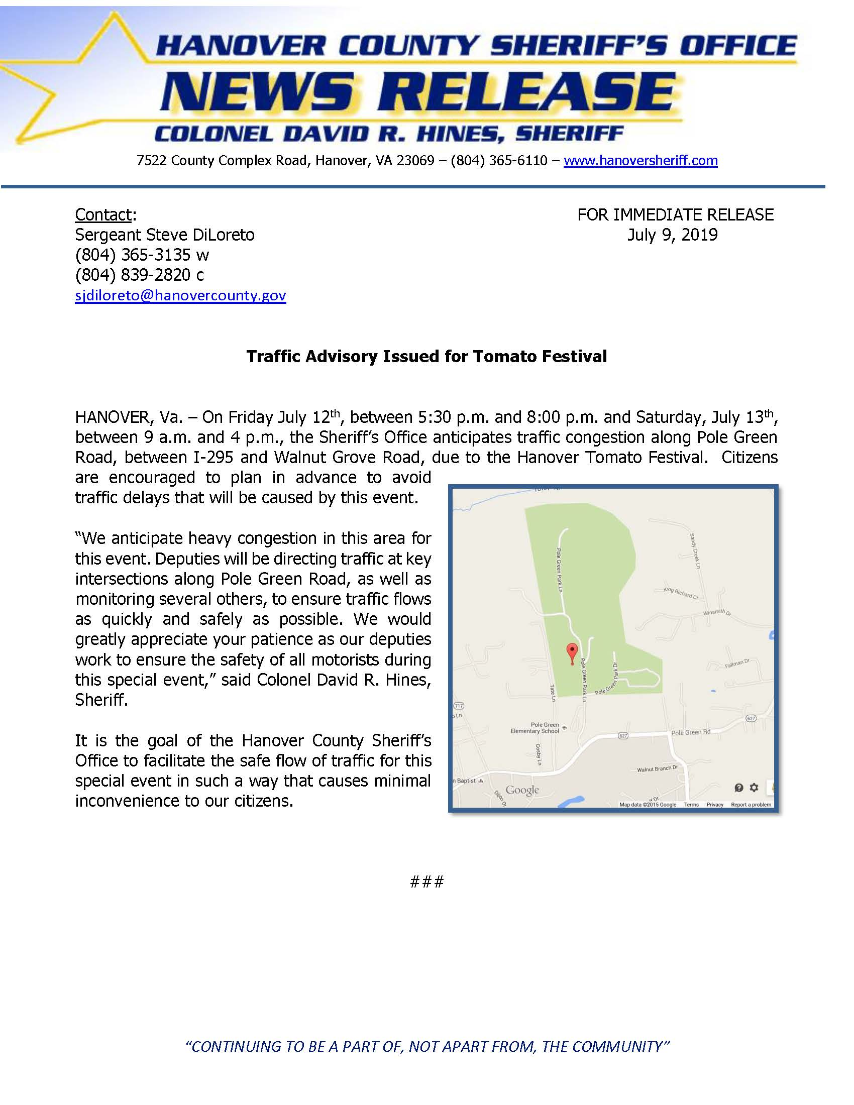 HCSO Issues Traffic Advisory for Tomato Festival 2019