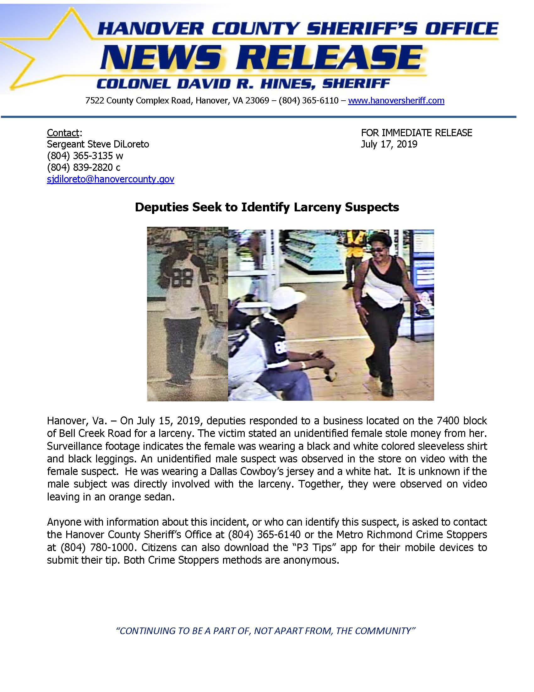 HCSO - Deputies Seek to Identify Larceny Suspect- July 15 2019