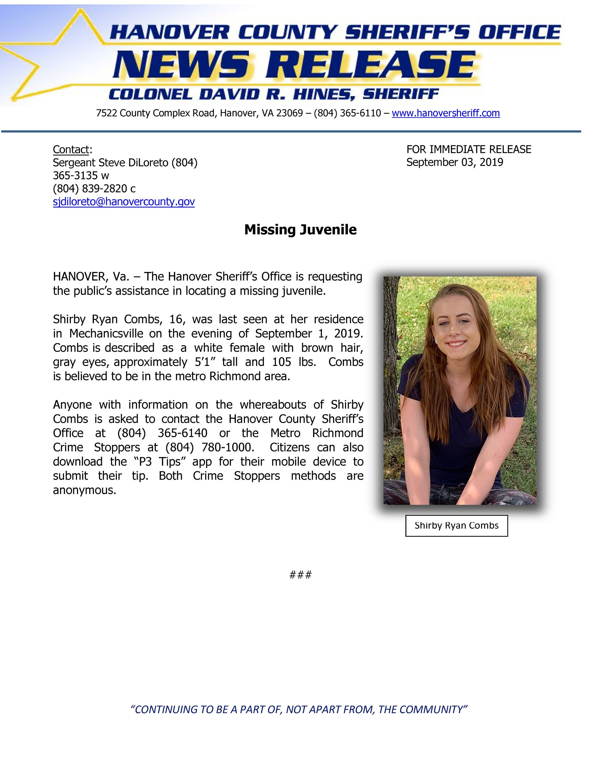HCSO - Missing Juvenile Shirby Combs- September 3, 2019