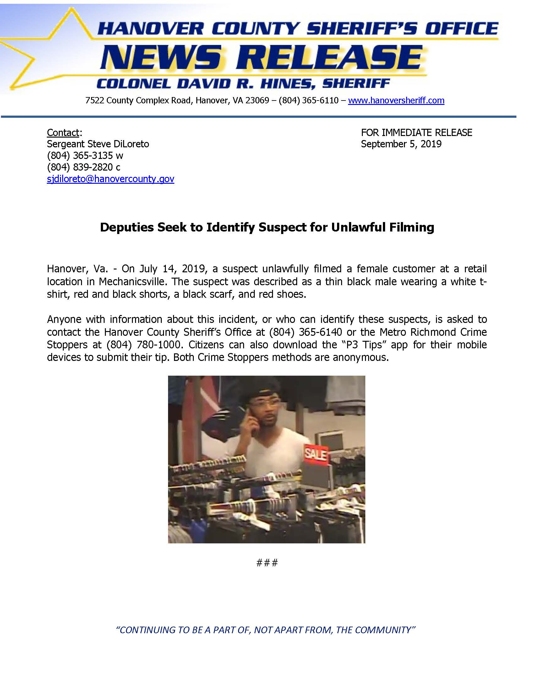 HCSO - Deputies Seek to Identify Suspect for unlawful filming September 5 2019