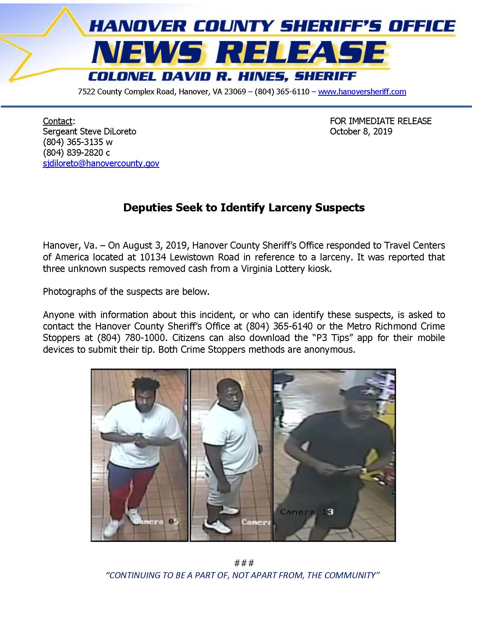 HCSO - Deputies Seek to Identify Larceny Suspect- August 28 2019 (002)
