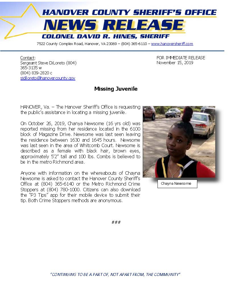 HCSO - Missing Juvenile Chayna Newsom 15NOV2019