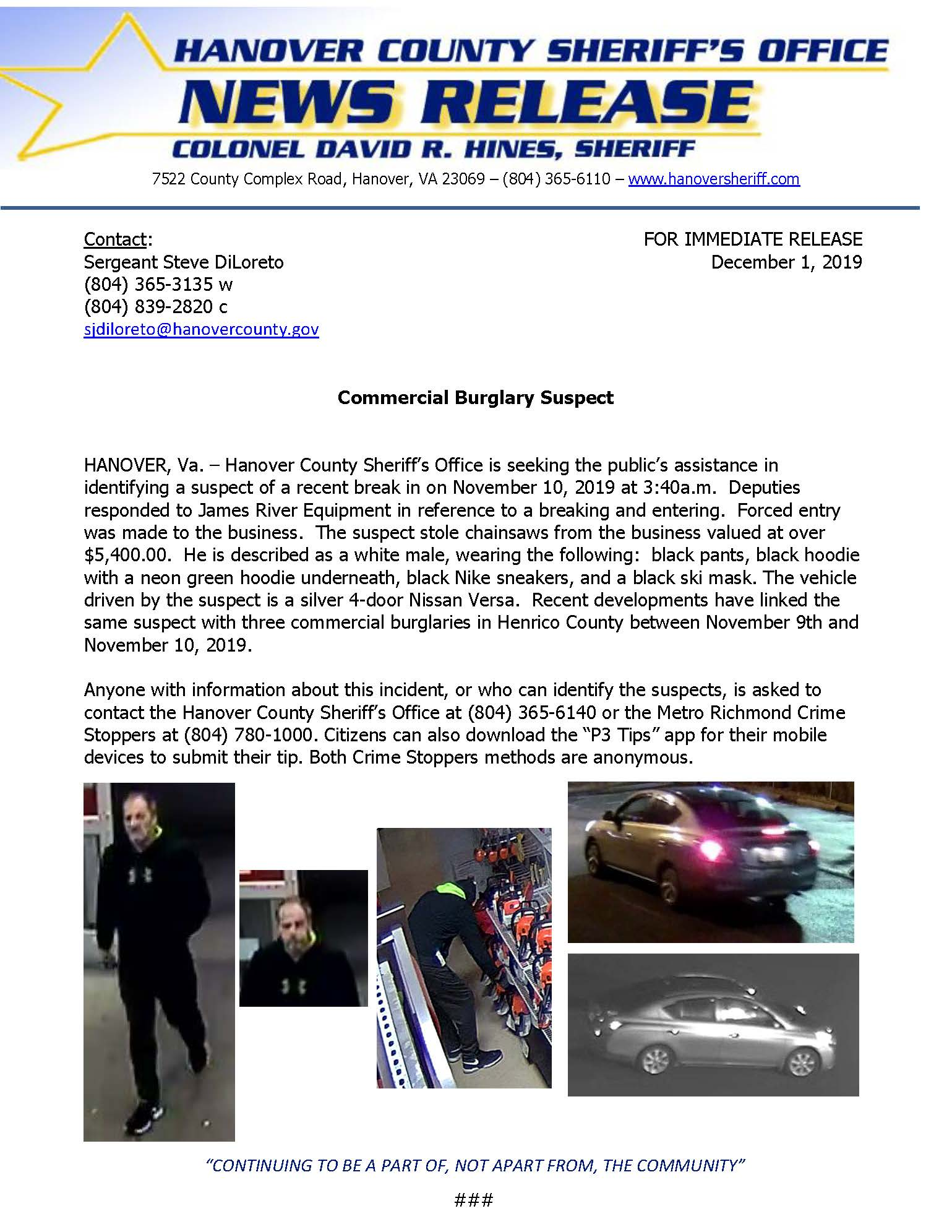 HCSO Commercial Burglary Suspect 01DEC2019