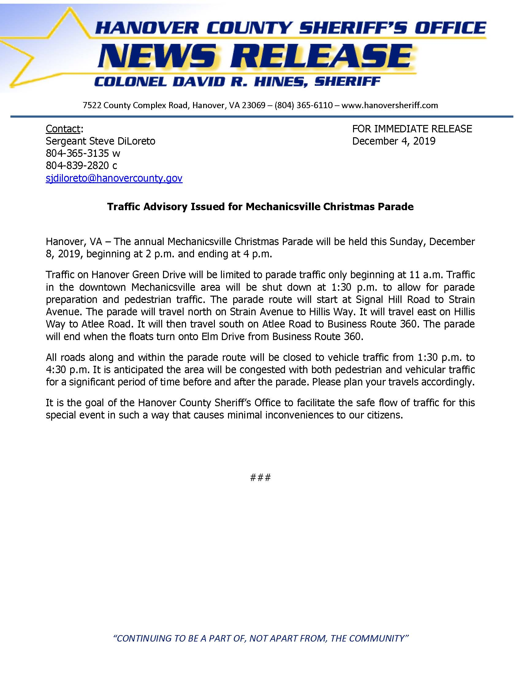 HCSO - Mechanicsville Christmas Parade- December 2019